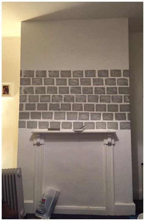 diy   paint  faux brick fireplace project idea