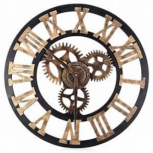 Grande Horloge Industrielle : horloge murale 3d en bois style vintage chiffres romains d coindustriel ~ Teatrodelosmanantiales.com Idées de Décoration