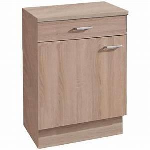 Meuble Bas A Tiroir : meuble bas pour cuisine 1 porte et 1 tiroir coloris ~ Edinachiropracticcenter.com Idées de Décoration