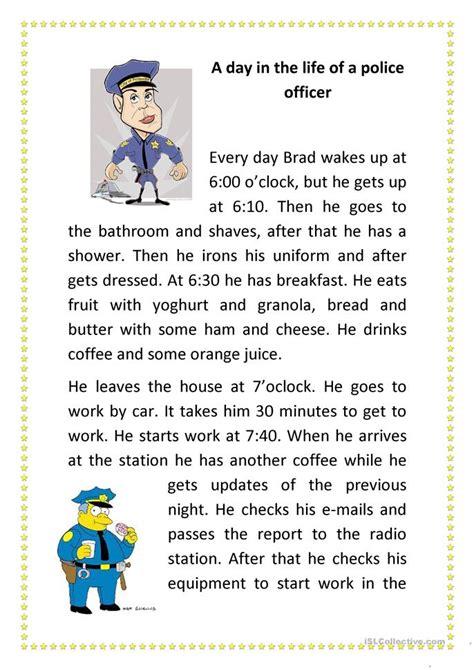 day   life   police officer worksheet  esl