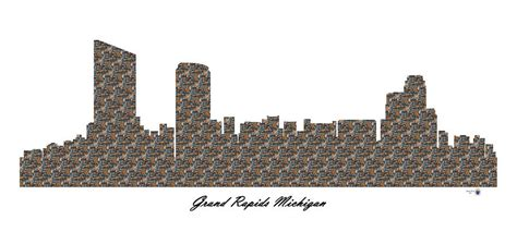 grand rapids michigan 3d wall skyline digital by
