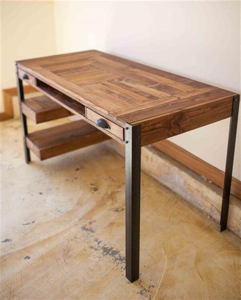 wood pallet desk pallet desk with drawers and shelves pallet furniture diy