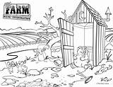 Coloring Outhouse sketch template