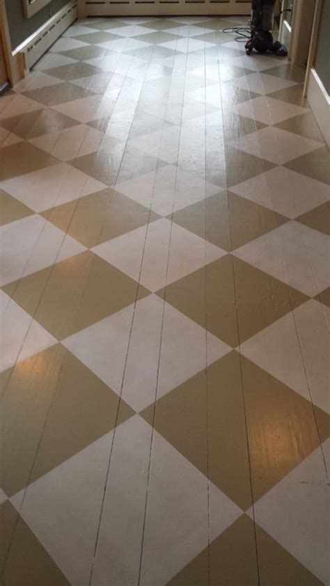 Hometalk   $4.39 Foyer Painted Floor Makeover