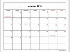 January 2018 Bank Holiday calendar printable free