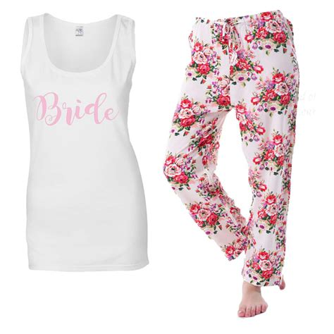 light pink vest to be floral pjs personalised bridal pyjamas for