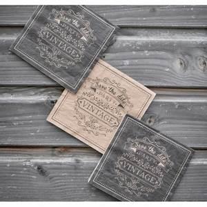 Serviettes De Table Vintage Kraft Naturel Et Noir Papier