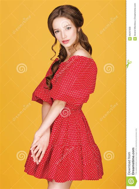 Pin up Of Young Beautiful Girl Stock Photo Image of