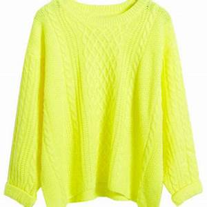 Neon Yellow Long Sleeve Cable Sweater from Midnight Bandit