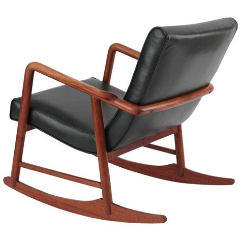 leather rocking chair sculptural teak and leather danish rocking chair at 1stdibs