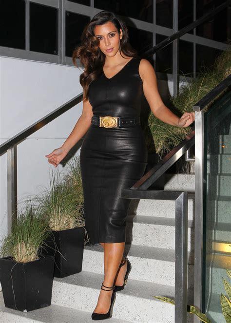 kim kardashian leather dress kim kardashian  stylebistro