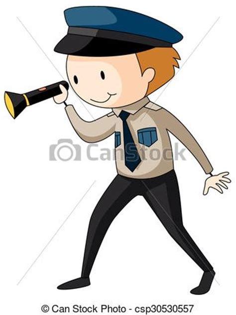 clipart vector  security guard holding flashlight