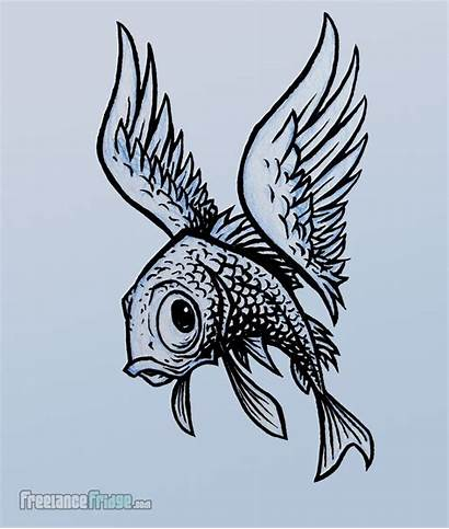 Fish Drawing Flying Surreal Surrealism Wings Creature