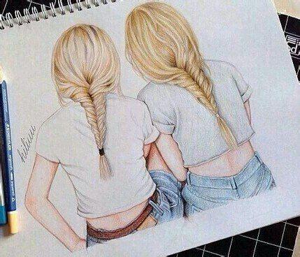 Coloriage kawai imprimer nouveau galerie coloriage manga. dessin de 2 filles | Drawings of friends, Best friend drawings, Bff drawings