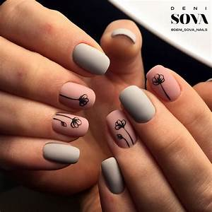 simple Matte pink and grey with black flower nail art ...