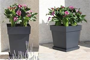 Pot Fleur Plastique : pot de fleur plastique carr toscane eda jardideco ~ Premium-room.com Idées de Décoration