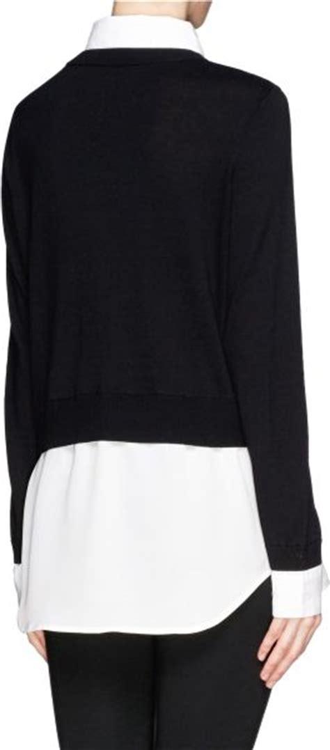 sweater blouse combo sandro seul combo shirt sweater in black lyst