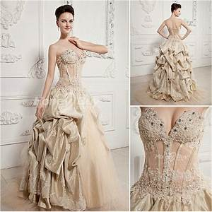Champagne wedding dress sweetheart ball gown champagne for Champagne colored wedding dress