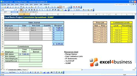 excel basics  project commission spreadsheet