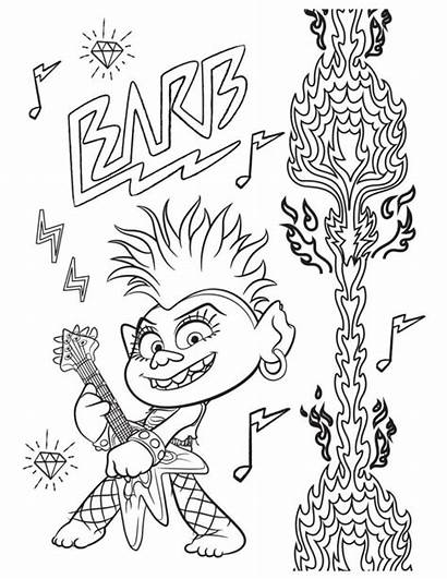 Trolls Coloring Tour Pages Barb Queen Rock