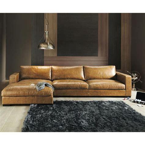 canape en s canapé d 39 angle vintage 5 places en cuir camel décos