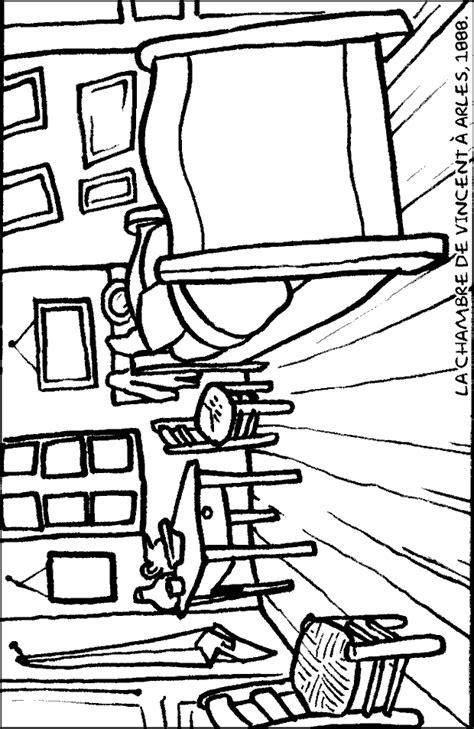 coloriage chambre imprime et colorie la chambre de vincent à arles
