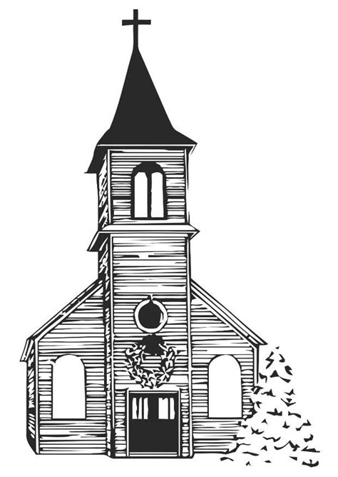 coloring page church  winter  printable coloring pages