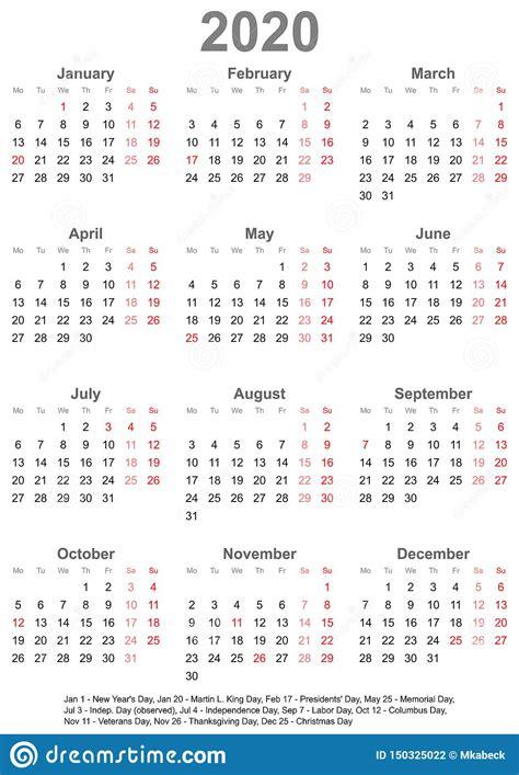 calendario simples feriados eua ilustracao