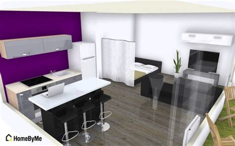 plan cuisine ouverte 9m2 aménagement d 39 un studio de 35m