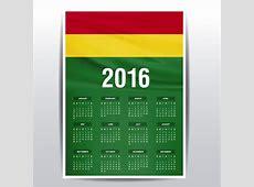 Calendario de Bolivia de 2016 Descargar Vectores gratis