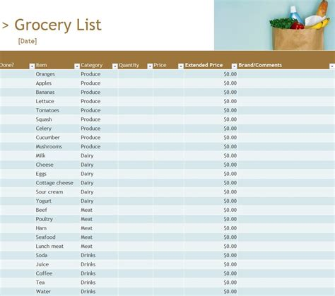 grocery inventory list grocery inventory list template