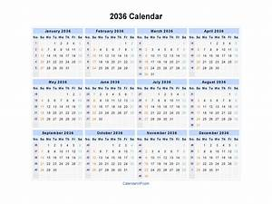 Printable Blank Monthly Calendar 2036 Calendar Blank Printable Calendar Template In Pdf