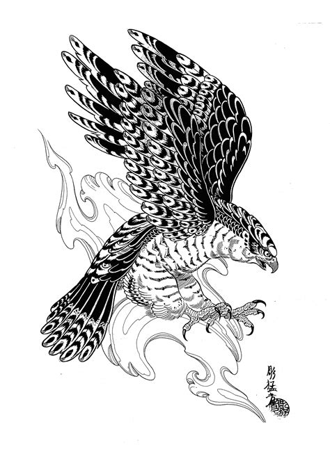 Pin by lea brubaker on Tattoos | Hawk tattoo, Eagle tattoos, Japanese tattoo designs