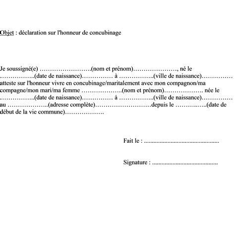 modele attestation sur l honneur de vie commune document