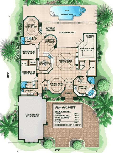 Villa Home Plans by Distinctive Villa House Plan 66034we Architectural