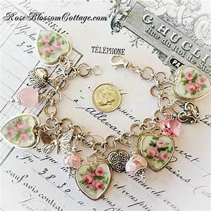 Three Pink Roses Broken China Jewelry Crystal Charm Bracelet