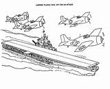 Coloring Carrier Aircraft Plane Take Attack Template Sky sketch template