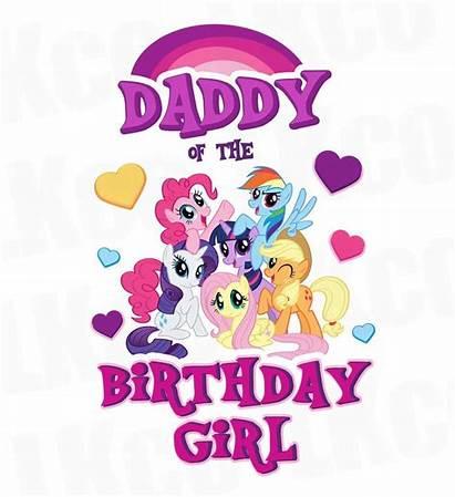Pony Birthday Shirt Daddy Mommy Transfer Pink