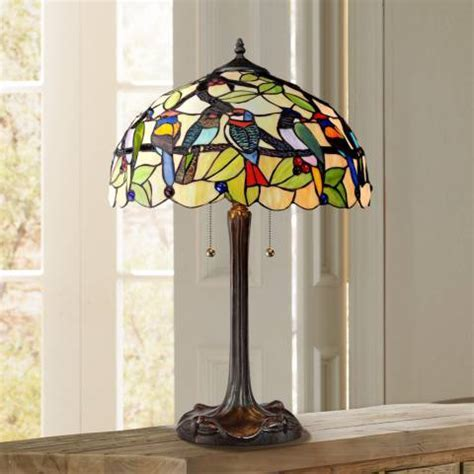 Tropical Birds Robert Louis Tiffany Table Lamp   #W7860