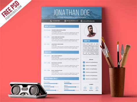 Free Graphic Design Resume Template by Creative Graphic Designer Resume Psd Template