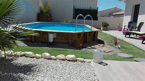 amenagement jardin facade maison 3 jardin avec piscine bois semi enterr233e d233co