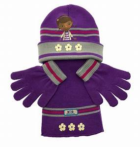 Girls Character Hat Scarf And Gloves 3 Piece Set Kids Warm