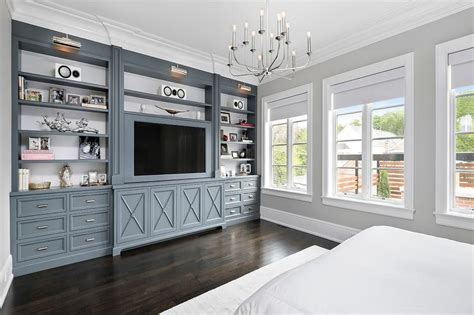 Gunmetal Gray Bedroom Built Ins With Polished Nickel
