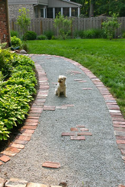 gravel walkway garden walkway from recycled brick when our front steps were replaced ideas and inspiration