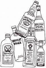 Drawing Alcohol Bottles Glass Bottle Line Liquor Coloring Tequila Aa Vodka Sign Yourself Way Express sketch template