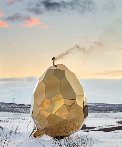 Solar Egg In Kiruna by Solar Egg A Gold Mirrored Sauna In Sweden By Bigert