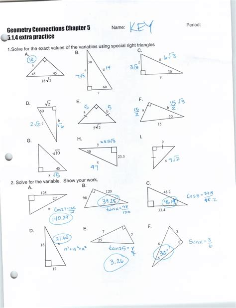 trigonometry worksheets answers worksheets for all