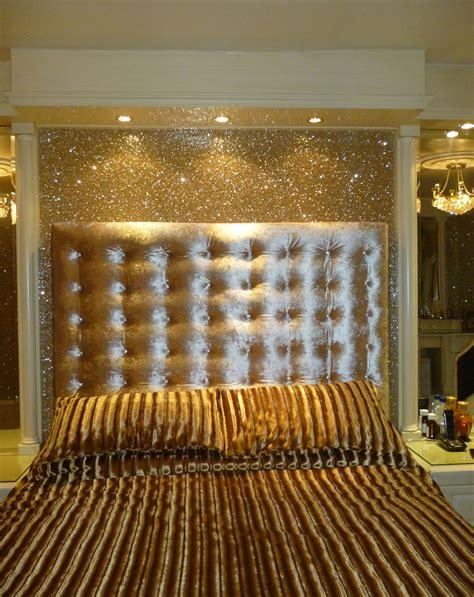 gold glitter wallpaper   padded double headboard