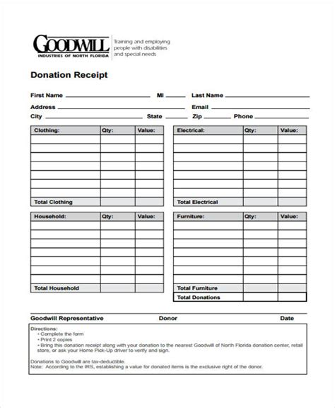 donation receipt forms   ms word excel