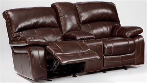 Loveseat Recliners With Console by Damacio Brown Glider Power Reclining Loveseat With